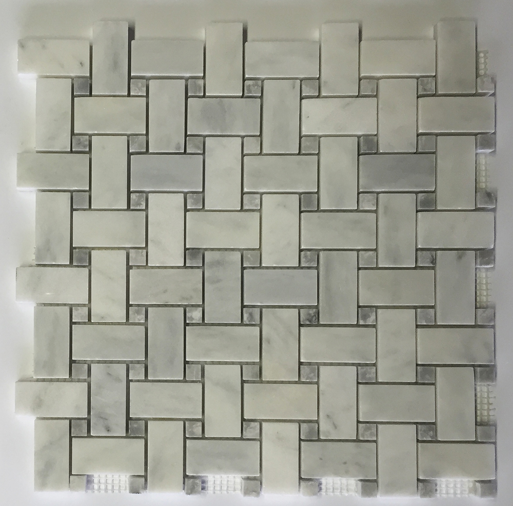 Venetian White - Grey Dot Marble Basket Weave Image