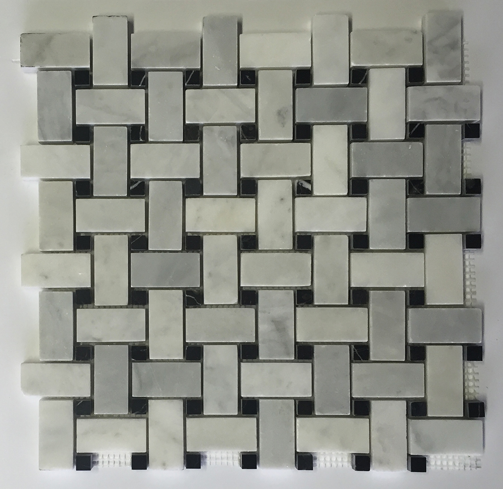 Venetian White - Black Dot Marble Basket Weave Image