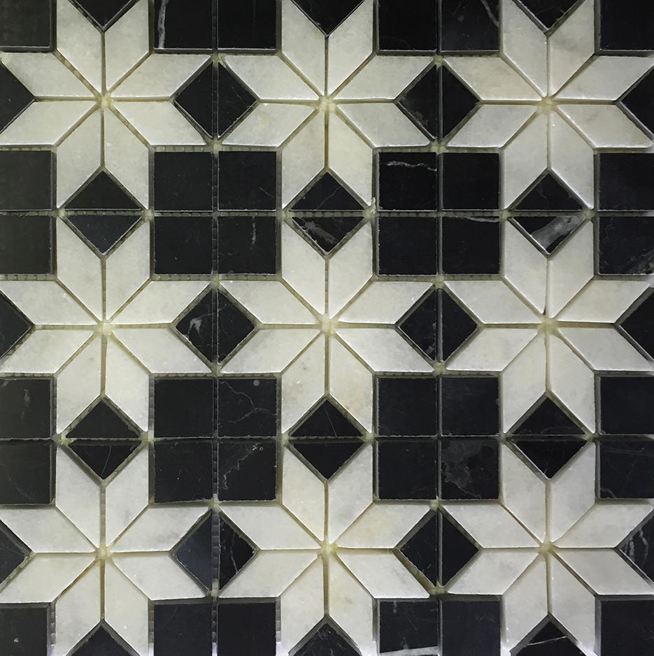 "Nero Marquina - Venetian White Insert Mosaic (9 pcs inserts) -12"" x 12"" Image"