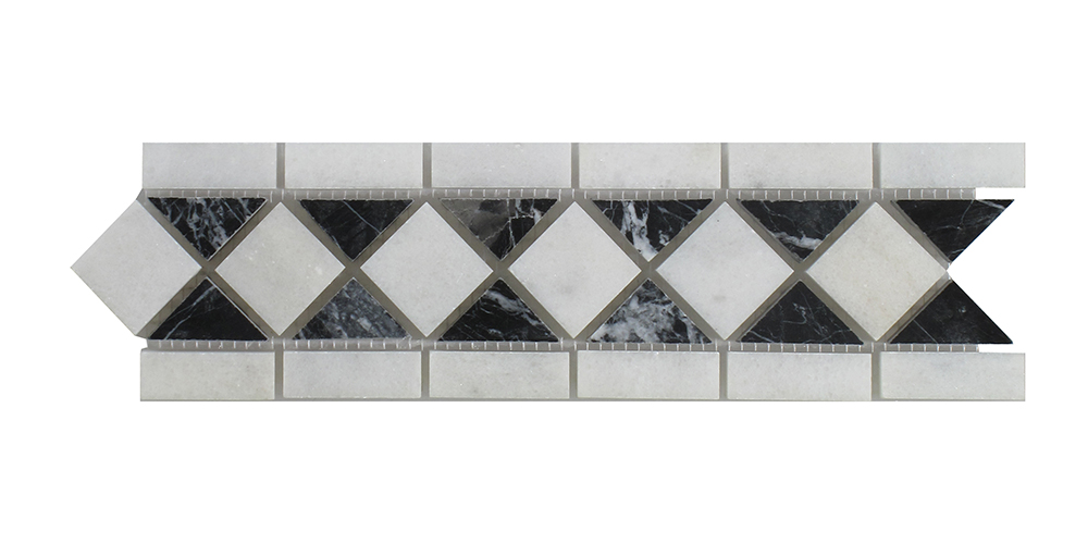 "Venetian White - Nero Marquina Classic Border - 3 1/4"" x 12"" Image"