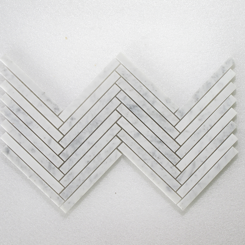 Bianco Carrara Herringbone Polished/Honed  - 5/8 Image