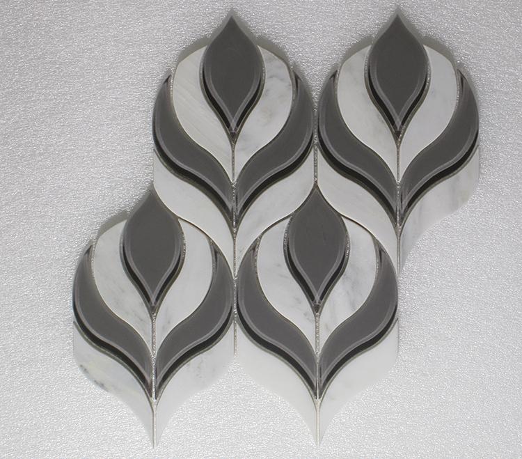 "WJ 930 Botanica Arabescato P. & Grey Glass Clear 10.25"" x 9.75"" Image"