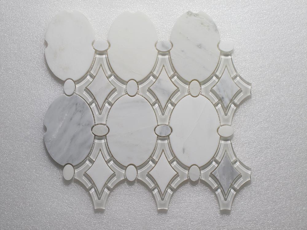 """WJ 925 Antique Arabescato P. & White Glass Clear 11.50"""" x 12.75"""" Image"""
