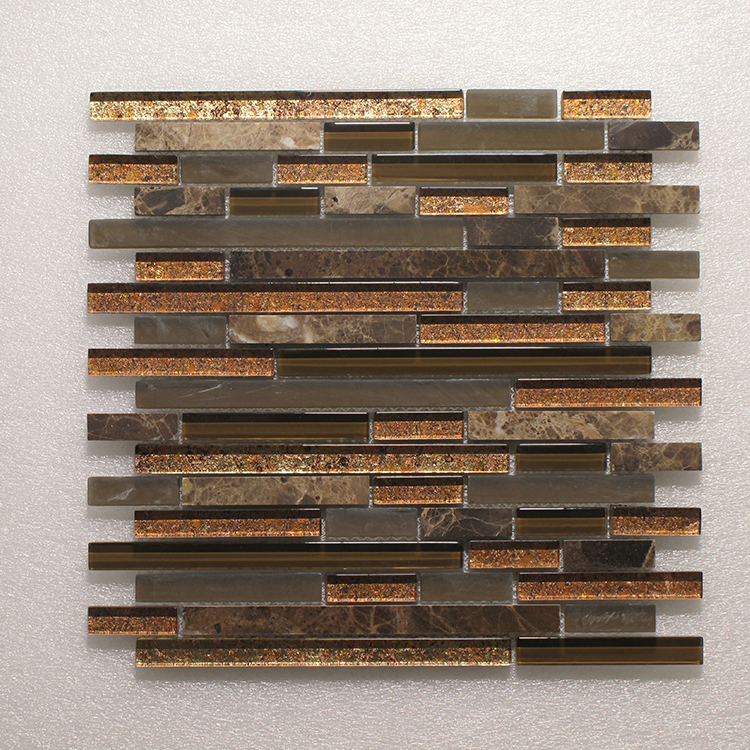 Glass & Stone Blend Random Strip Mosaic MAG 4437-ST Image