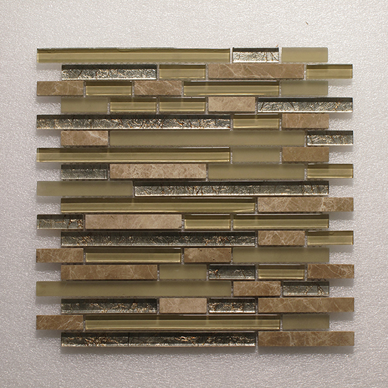 Glass & Stone Blend Random Strip Mosaic MAG 4438-ST Image