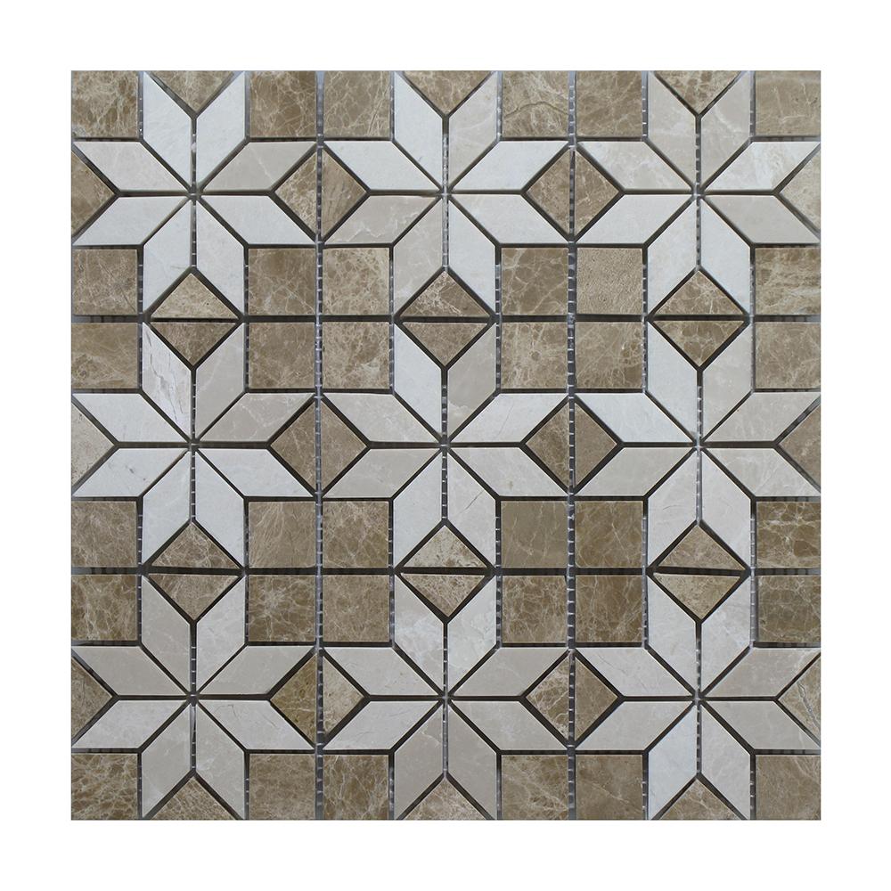 "Light Emperador - Botticino Insert Mosaic (9 inserts) - 12"" x 12"" Image"