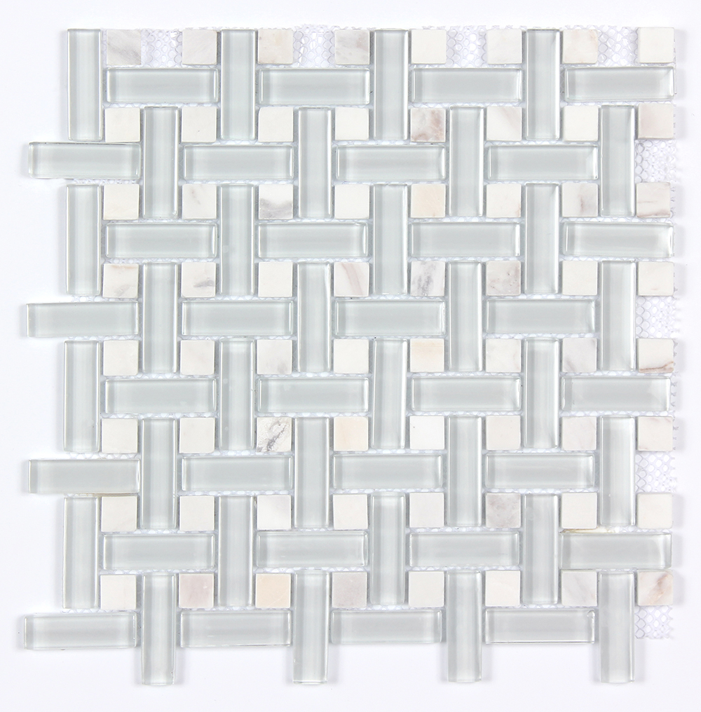 Glass & Stone Dot Basket Weave Mosaic MAG 4801-BW Image