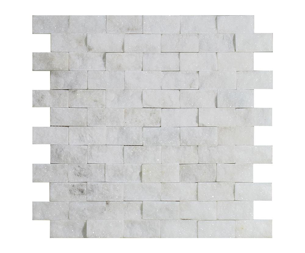 "Milas White Split Face Brick - 1"" x 2"" Image"