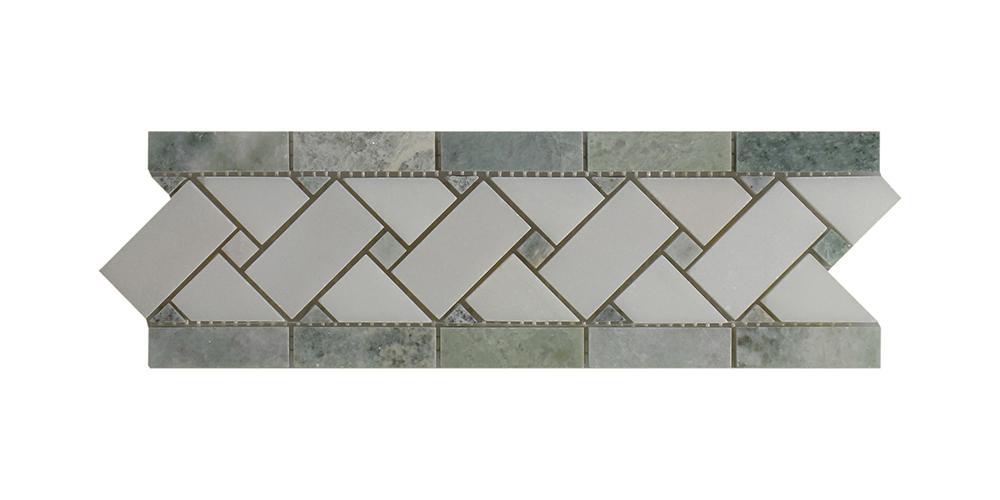 "Ming Green - Pure White Basket Weave Border - 4"" x 12"" Image"