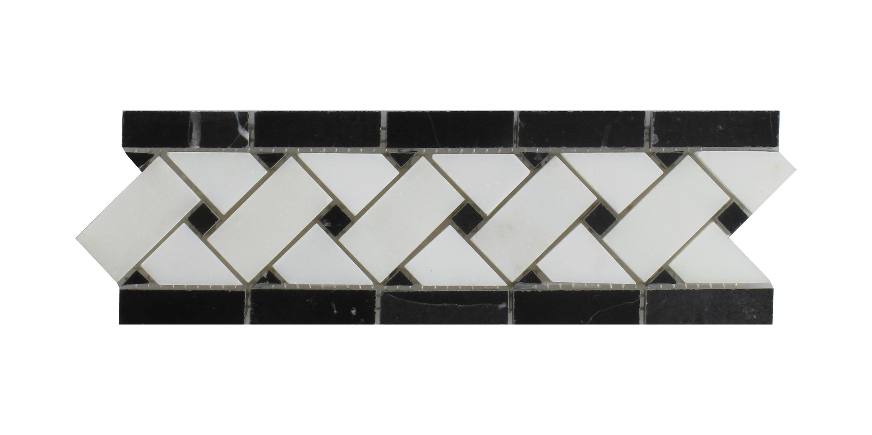"Nero Marquina - White Carrara Basket Weave Border - 4"" x 12"" Image"