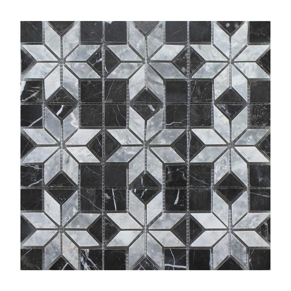 "Nero Marquina - Silver Insert Mosaic (9 pcs inserts) - 12"" x 12"" Image"
