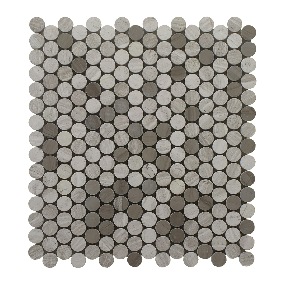 """Oyster Grey Mixed W/Athens Grey Penny Round 3/4"""" - 12"""" x 12"""" Image"""