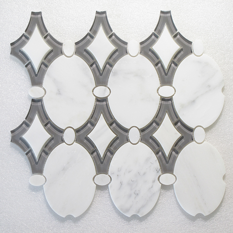 "WJ 926 Antique Arabescato P. & Grey Glass Clear 11.50"" x 12.75"" Image"