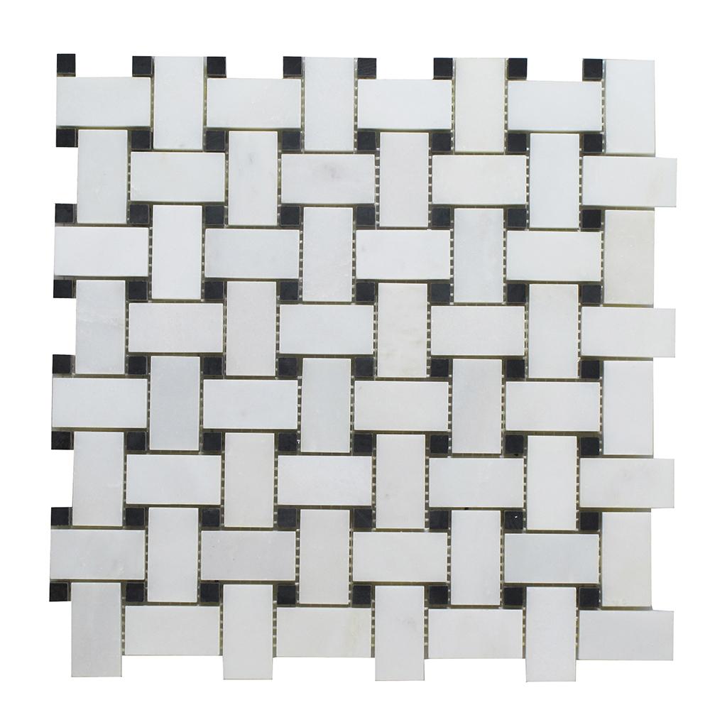 Arabescato - Black Stone Dot Basket Weave Image