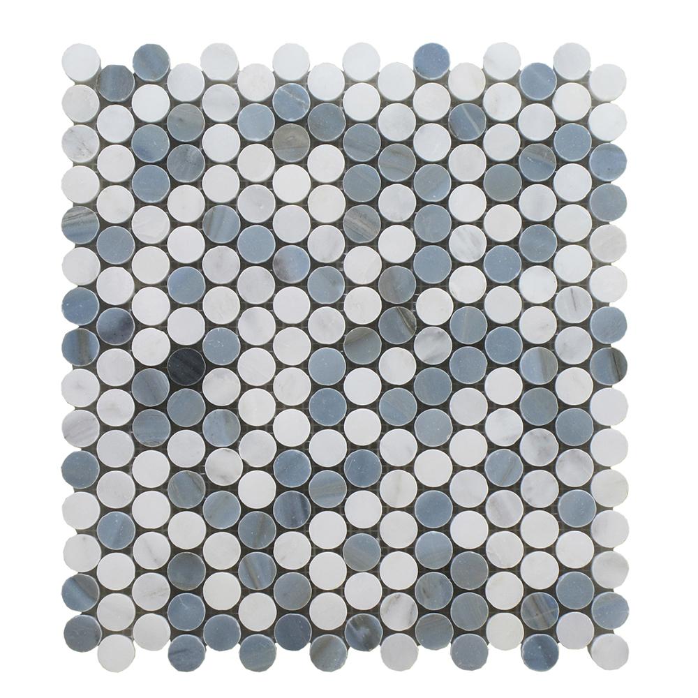 "Arabescato Mixed W/Blue Stone Penny Round 3/4"" - 12x12 Image"