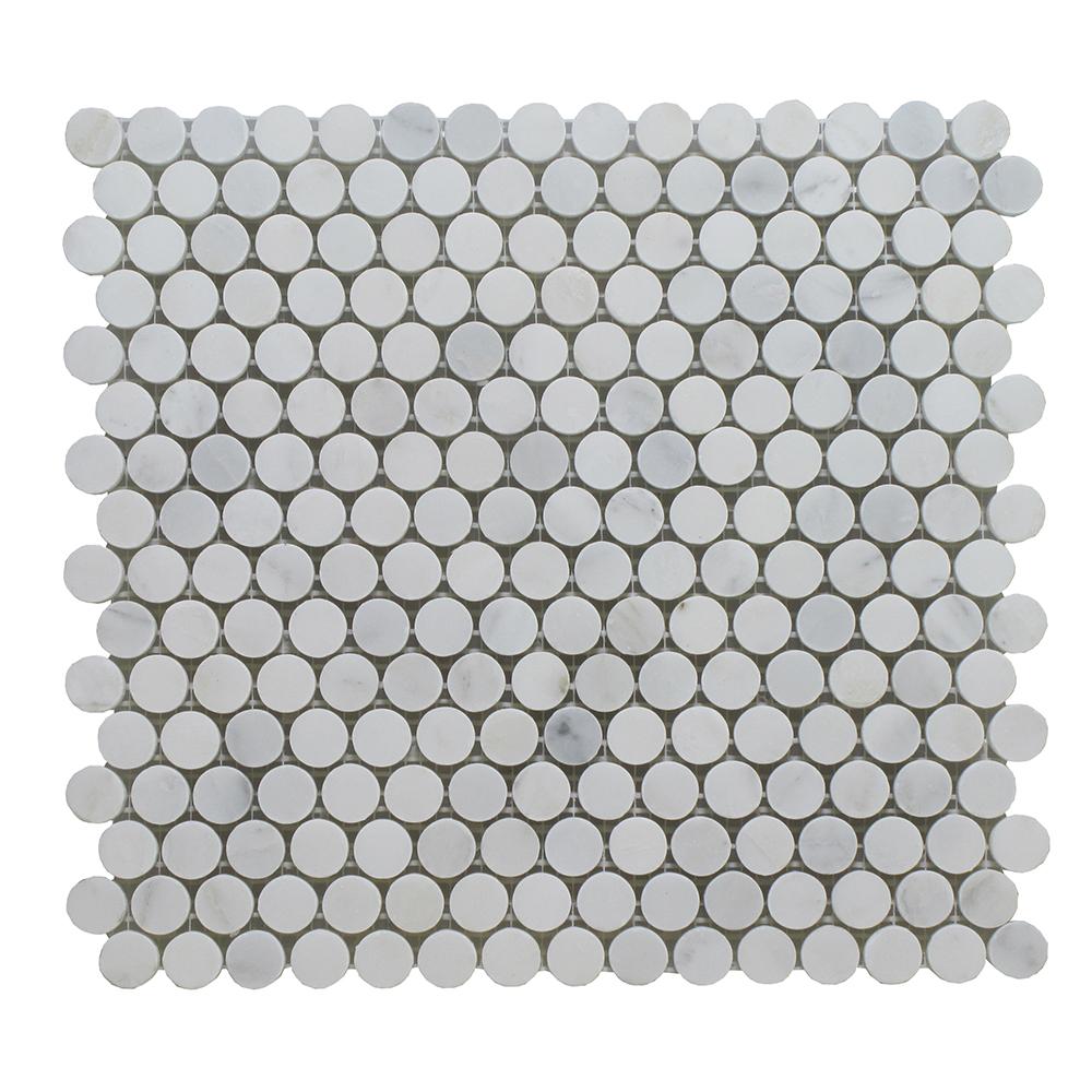 "Arabescato Marble Penny Round 3/4"" - 12x12 Image"