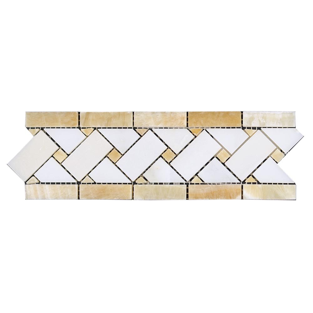 Honey Onyx Thassos White Basketweave Border Image