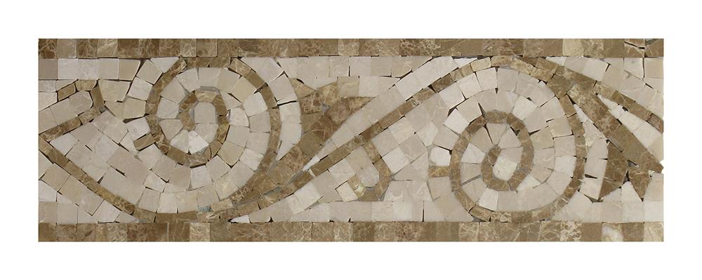 "Light Emperador - Botticino Art Border - 4"" x 12"" Image"